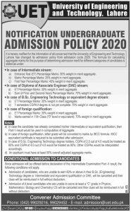 UET Lahore merit policy 2020