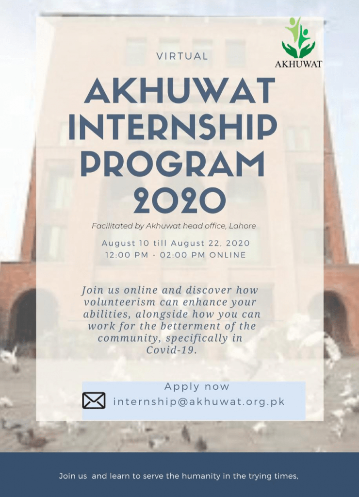 Akhuwat Virtual Internship Program 2020 Flyer