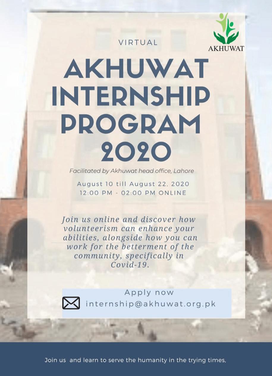 Akhuwat Virtual Internship Program 2020 Flyer