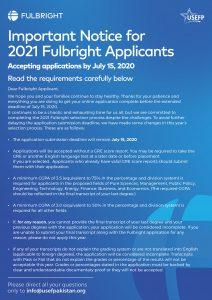 USEP Fulbright Scholarship 2021 Flyer