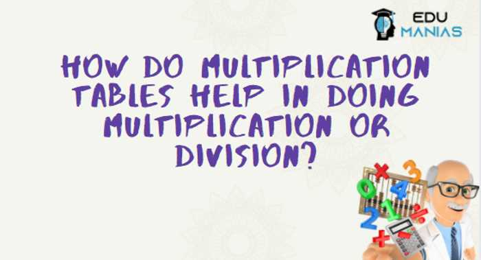 How do multiplication tables help in doing multiplication or division