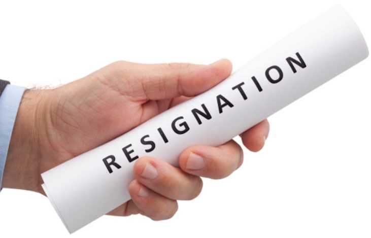 What is contained in an email resignation letter